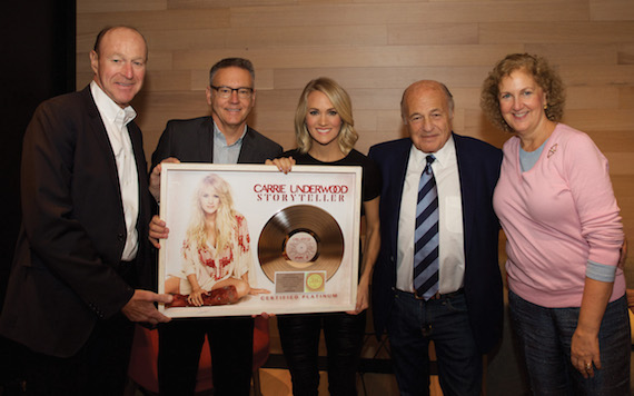 (L-R) are: Kevin Kelleher, Executive Vice President and Chief Financial Officer, Sony Music Entertainment; Randy Goodman, Chairman and CEO, Sony Music Nashville; Carrie Underwood; Sony Music Entertainment's Doug Morris, CEO, and Julie Swidler, Executive Vice President, Business Affairs and General Counsel. Photograph by � Dan Callister