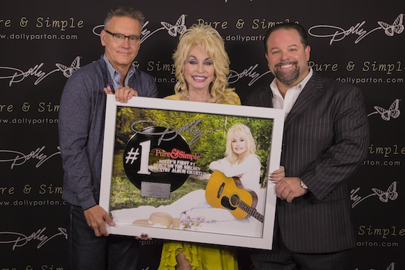 Randy Goodman, Chairman & CEO, Sony Music Nashville; Dolly Parton; and Danny Nozell, President / CEO, CTK Management. Photo: JB Rowland