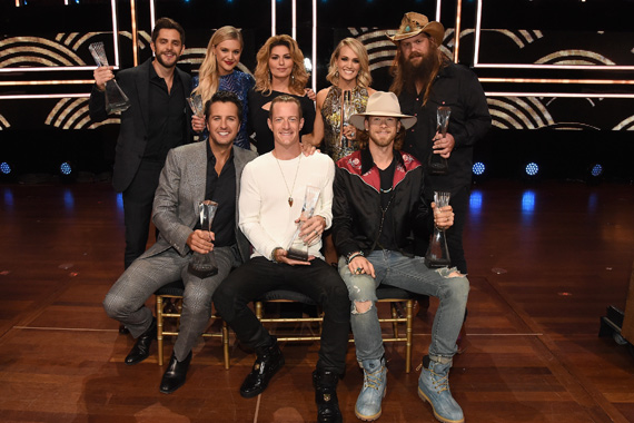 Pictured (L-R) top row: Honorees Thomas Rhett, Kelsea Ballerini, Shania Twain, Carrie Underwood, Chris Stapleton; (seated): Luke Bryan, Florida Georgia Line's Tyler Hubbard and Brian Kelley. Photo: Rick Diamond/Getty Images for CMT