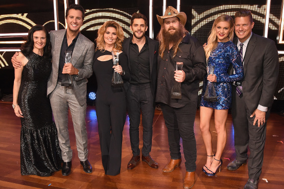 Pictured (L-R): CMT's Leslie Fram, Luke Bryan, Shania Twain, Thomas Rhett, Chris Stapleton, Kelsea Ballerini and XXX. Photo: Rick Diamond/Getty Images for CMT