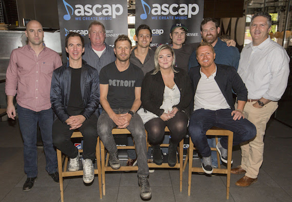 Pictured (L-R): ASCAP's Robert Filhart, co-writer JT Harding, ASCAP's Mike Sistad, Dierks Bentley, SmackSongs' Robert Carlton, Elle King, producer Ross Copperman, co-writer Shane McAnally, Capitol Nashville/UMG's Royce Risser and GMR's Randy Grimmett - Photo: Ed Rode/ ASCAP