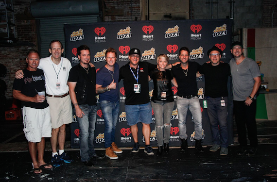Pictured before Parmalee's performance at the Florida Repertory Theater in downtown Fort Myers (L-R): BMI songwriter Tim James, BMI's Dan Spears, Parmalee's Josh McSwain, Parmalee's Barry Knox, Cat Country 107.1 Program Director Mike Tyler, Cat Country 107.1 Midday Personality Amy Lynn, Parmalee's Matt Thomas, BMI songwriter Danny Myrick, Parmalee's Scott Thomas.