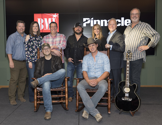 Pictured: (L-R): Back row: BMI's Bradley Collins, Creative Nation's Beth Laird, Universal Music's Kent Earls, producer Bart Butler, Song Factor's Jennifer Johnson, Sony ATV's Troy Tomlinson and Capitol Nashville's Mike Dungan. Front Row: Songwriter Luke Laird and BMI songwriter and artist Jon Pardi. Photo: Steve Lowry