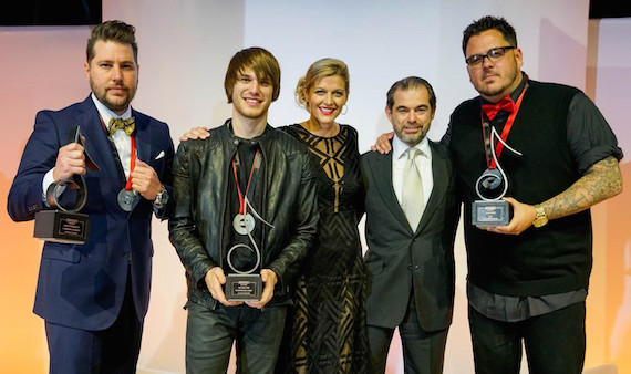 "2016 SESAC Nashville Music Awards Song of the Year ""Somewhere On A Beach"" recipients Jaron Boyer and Michael Tyler, SESAC VP of Creative Services Shannan Hatch, SESAC Chairman and CEO John Josephson, and SESCAC Songwriter of the Year Josh Hoge (right)."