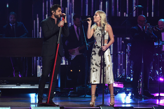 Pictured (L-R): Thomas Rhett, Zara Larsson. Photo: Rick Diamond/Getty Images for CMT