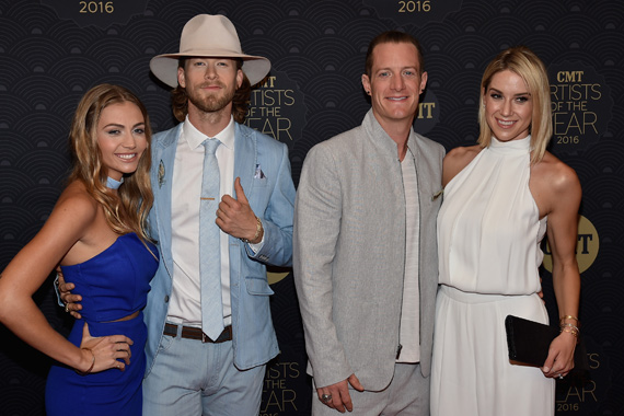 Pictured (L-R): Brittney Marie Cole, Brian Kelley, Tyler Hubbard and Hayley Hubbard. Photo: John Shearer/Getty Images for CMT