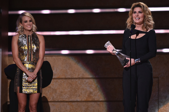 Pictured (L-R): Carrie Underwood and Shania Twain. Photo: John Shearer/Getty Images for CMT