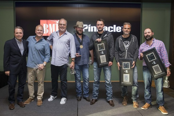 Pictured (L-R): Pictured: (L-R): BMI's Jody Williams, Sony ATV's Troy Tomlinson, UMG Nashville's Mike Dungan, BMI songwriter Jeff Hyde, BMI artist Eric Church, Q Prime Management's John Peets and Little Louder's Arturo Buenahora. Photo: John Russell.