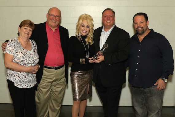 L-R: Lynda Malia (Executive Producer / CM&T), Lee Williams (President / BCMA), Dolly Parton, Kirt Webster (President / Webster Public Relations), Danny Nozell (CEO / CTK Management)