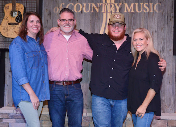 Pictured (L-R): Lynn Oliver-Cline, River House Artists; Erick Long, ACM; Luke Combs; Brooke Primero, ACM. Photo: Michel Bourquard/Courtesy of the Academy of Country Music