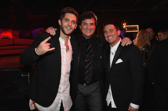 NASHVILLE, TN - NOVEMBER 02: Thomas Rhett, BMI CEO Scott Borchetta, and Jesse Frasure attend the Big Machine Label Group's celebration of the 50th Annual CMA Awards at Marathon Music Works on November 2, 2016 in Nashville, Tennessee. (Photo by Rick Diamond/Getty Images for BMLG )