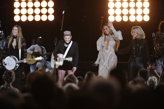 """Beyoncé and The Dixie Chicks perform """"Daddy Lessons"""" and """"Long Time Gone"""" at """"The 50th Annual CMA Awards,"""" live Wednesday, Nov. 2 at Bridgestone Arena in Nashville and broadcast on the ABC Television Network."""