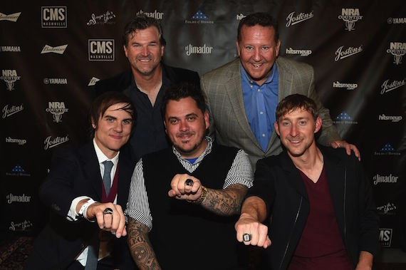 (Back Row, L-R): CMS Nashville Chairman and CEO Chris King and Jostens VP Curt Bruns, (Front Row, L-R): CMS Nashville Songwriter of the Year honorees Ross Copperman, Josh Hoge, and Ashley Gorley. Photo: Rick Diamond/Getty Images for CMS