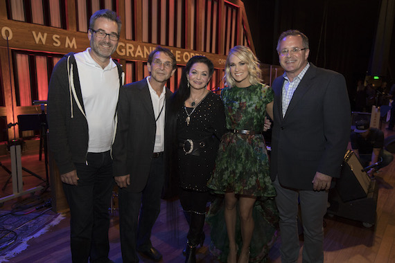 Pictured (L-R): Steve Buchanan, President, Opry Entertainment, Bill Gatzimos, Crystal Gayle, Carrie Underwood, Pete Fisher, VP/GM Grand Ole Opry. Photo: Chris Hollo for the Grand Ole Opry