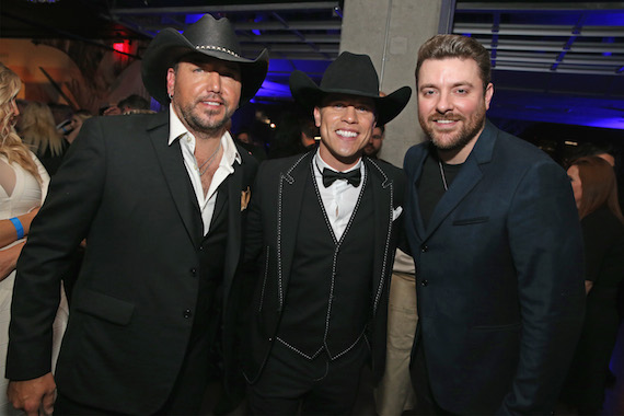 NASHVILLE, TN - NOVEMBER 02: (L-R) Jason Aldean, Dustin Lynch, and Chris Young attend the WME Country Music Awards After Party at Winners and Losers Bar on November 2, 2016 in Nashville, Tennessee. (Photo by Terry Wyatt/Getty Images for WME)