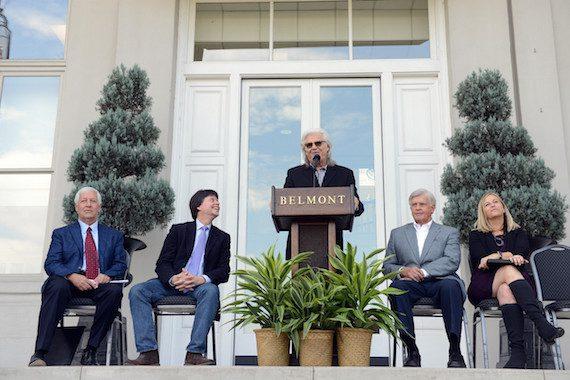 Pictured (L-R): Dr. Bob Fisher; Ken Burns; Ricky Skaggs (speaking); Marty Dickens; Nashville Mayor Megan Barry.