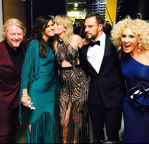 Little Big Town and Taylor Swift celebrate going No. 1 on iTunes during the CMA Afterparty. Photo: Taylor Swift/Twitter