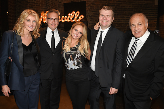 (L-R:) ShopKeeper Management's Marion Kraft; Sony Music Nashville Chairman & CEO Randy Goodman; Vanner Records/RCA Nashville's Miranda Lambert; Rob Stringer, Chairman & CEO, Columbia Records; and, Doug Morris, CEO, Sony Music Entertainment. Photo credit: Erika Goldring