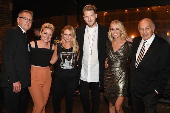 (L-R:) at Sony Music Nashville's CMA Awards post party at The Bell Tower are: Sony Music Nashville Chairman & CEO Randy Goodman, Arista Nashville/RCA Records' Cam, Vanner Records/RCA Nashville's Miranda Lambert, Pentaton.ix's Scott Hoying, CMA Awards co-host and Female Vocalist of the Year winner Carrie Underwood and Sony Music Entertainment CEO Doug Morris. Photo credit: Erika Goldring