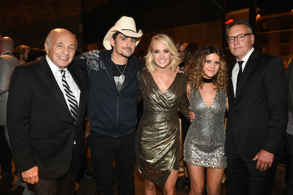 (L-R) At Sony Music Nashville's CMA Awards post party at The Bell Tower are: Doug Morris, CEO, Sony Music Entertainment; CMA Awards co-host Brad Paisley; co-host and CMA Female Vocalist of the Year Carrie Underwood; CMA New Artist of the Year winner Maren Morris; and, Randy Goodman, Chairman & CEO, Sony Music Nashville. Photo credit: Erika Goldring