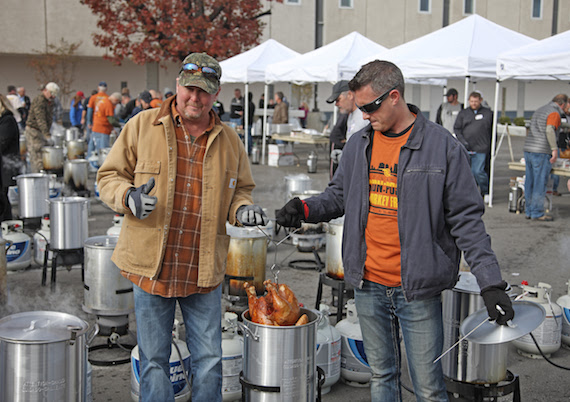 Tracy Lawrence (L) Participates in Turkey Frying Photo: Jon-Paul Bruno