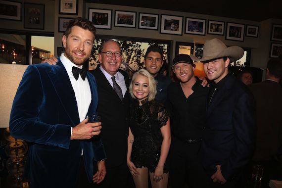 Pictured (L-R): Brett Eldredge, John Esposito, RaeLynn, Dan Smyers, CMA New Artist of the Year nominee Cole Swindell and William Michael Morgan.