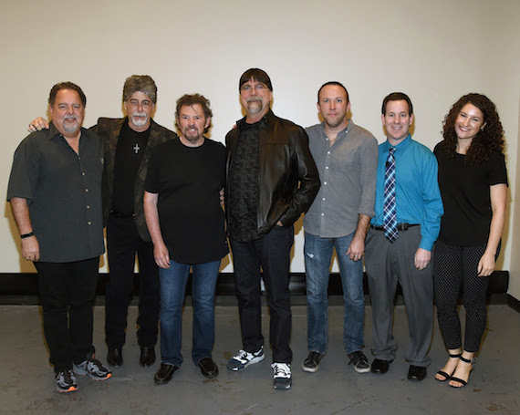 (l-r): Conway Entertainment's Tony Conway; Alabama's Randy Owen, Jeff Cook, and Teddy Gentry; Conway Entertainment's Brandon Mauldin, and the Country Music Hall of Fame and Museum's Michael Gray and Abi Tapia. Photo by Rick Diamond, Getty Images