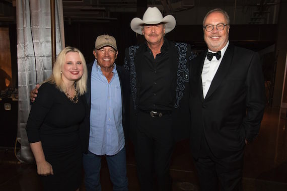 Alan Jackson and George Strait performed together at the 50th Annual CMA Awards. L to R: UMGN President Cindy Mabe; George Strait; Alan Jackson; UMGN Chairman and CEO Mike Dungan