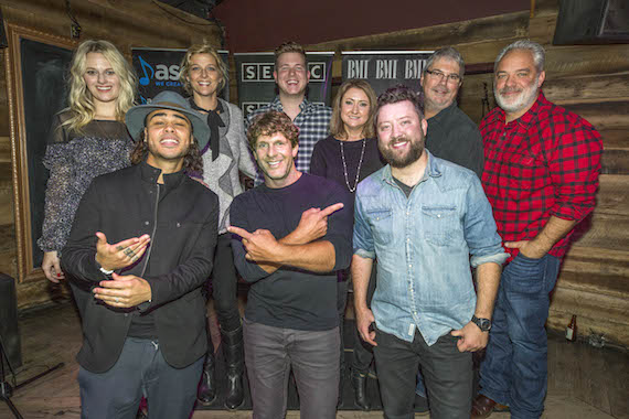 Pictured (L-R): (front row) Co-writers Shy Carter (BMI), Mercury Nashville recording artist Billy Currington (ASCAP) and Cary Barlowe (SESAC), (back row) ASCAP's Beth Brinker, SESAC's Shannan Hatch, BMI's Josh Tomlinson, Major Bob Music's Tina Crawford, BMG's Chris Oglesby and Mercury Nashville's Damon Moberly. Photo by Ed Rode.