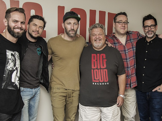 "Pictured (L-R): Big Loud Mountain partners Seth England and Kevin ""Chief"" Zaruk, Mat Kearny, Big Loud Mountain partners Craig Wiseman and Joey Moi and Big Loud Mountain's Troy Johnson"