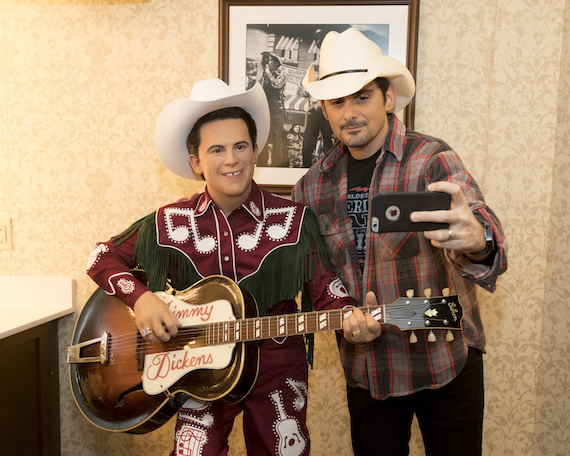 Brad Paisley poses with Little Jimmy Dickens wax figure backstage. Photo: By Chris Hollo/Grand Ole Opry.