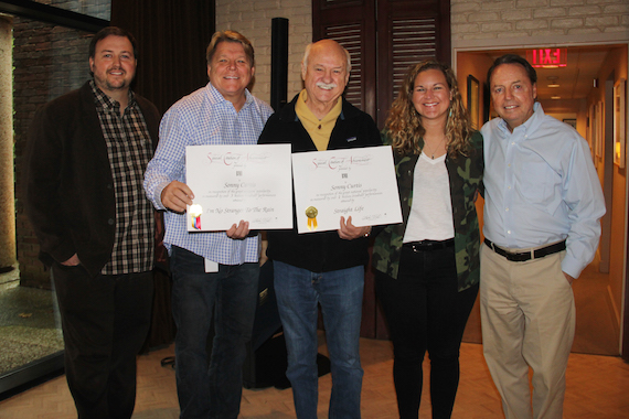 Pictured (L-R): BMI's Mason Hunter and David Preston, BMI songwriter Sonny Curtis and BMI's Nina Carter and Jody Williams.
