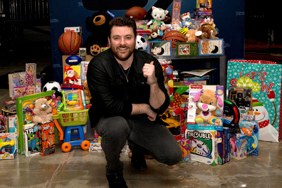 Chris Young displays Toys for Tots donations in Knoxville. Photo: Joy Kimbrough/JoyKPhoto