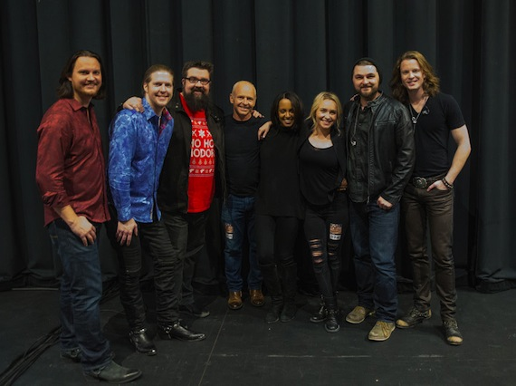 Pictured (L-R): Home Free's Tim Foust, Adam Rupp and Rob Lundquist, Alan Panettiere, Hayden Panettiere, Home Free's Adam Chance and Austin Brown. Photo: Olena Lysenko