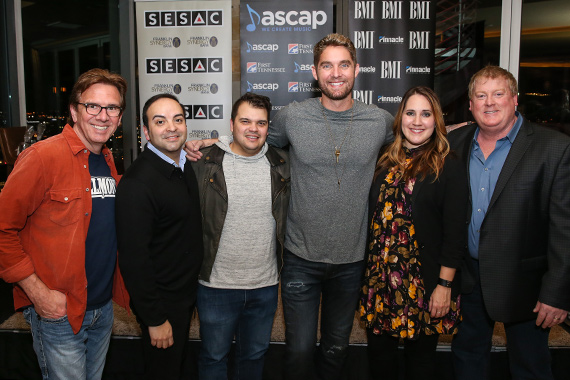 Pictured (L-R): Producer Dann Huff; publisher Big Machine Music's Mike Molinar; co-writers Justin Ebach, Brett Young and Kelly Archer; and ASCAP's Mike Sistad. Photo: Terry Wyatt.