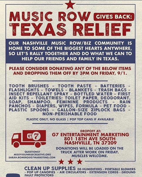 Music Row Community Gives Back: Texas Relief