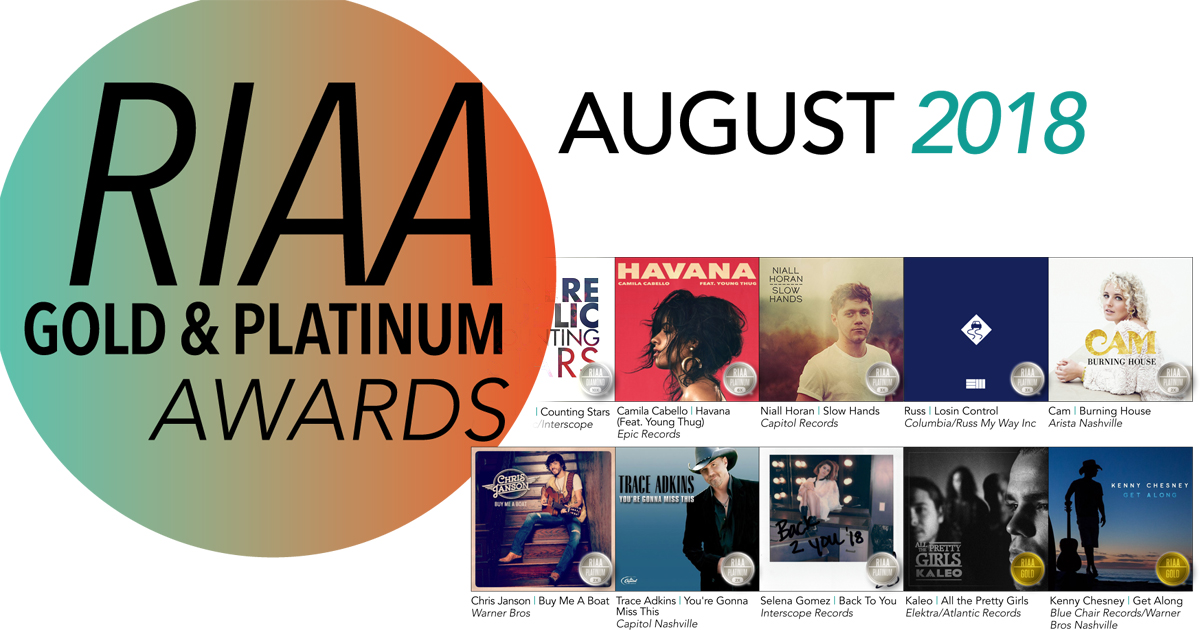 Riaa Reports 253 Song Awards 57 Album Awards For August 2018
