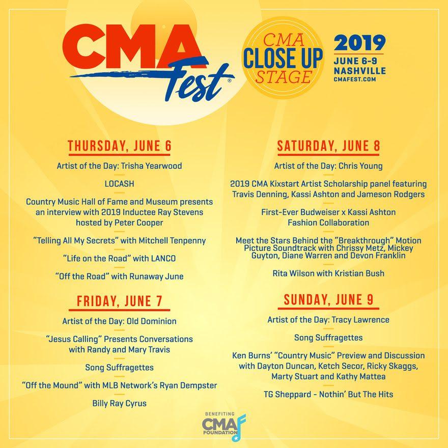 CMA Fest Announces CMA Close Up Stage Lineup :