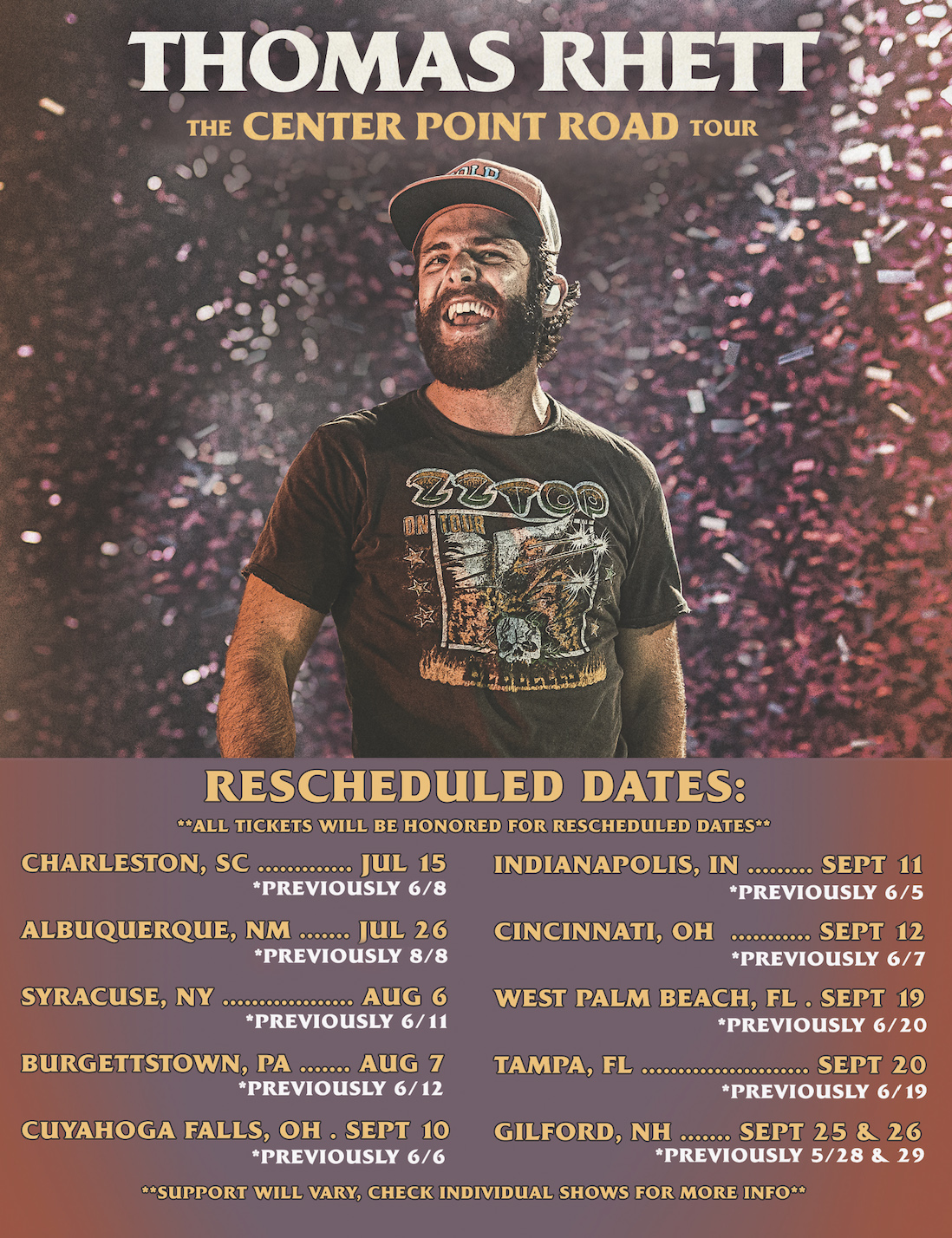 Thomas Rhett Reschedules Center Point Road Tour Dates For July Musicrow Com